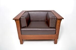 Incredible Details About Mission Arts Crafts Stickley Style Panel Leather Club Cube Chair Creativecarmelina Interior Chair Design Creativecarmelinacom