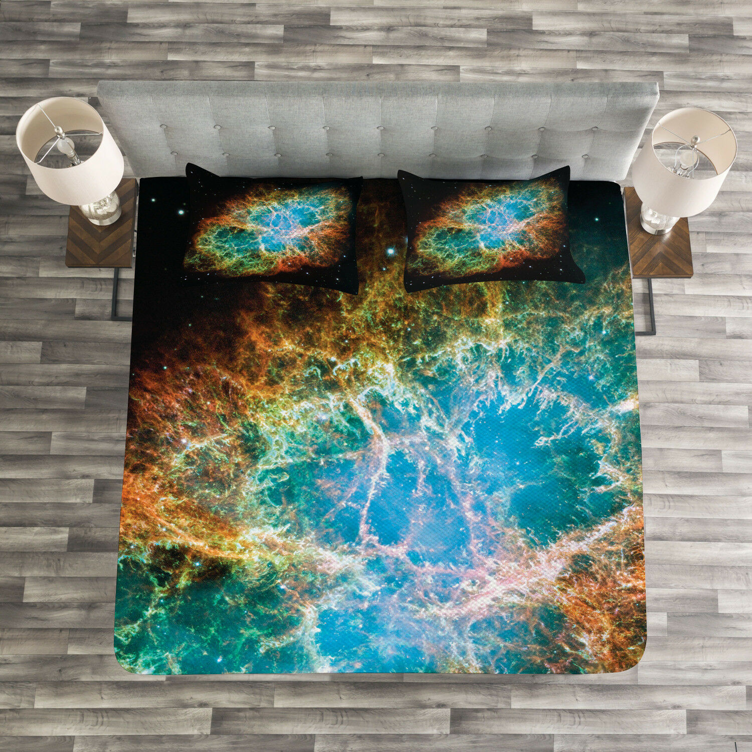 Nebula Quilted Bedspread & Pillow Shams Set, Supernova Stars Cosmos Print