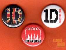 "Set of three 1"" One Direction pins buttons band pop directioner British 1D"