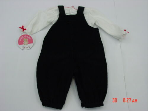 NWT InFant Girls 2 pc Outfit Shirt Overalls Corduroy Red Black New Unused Play