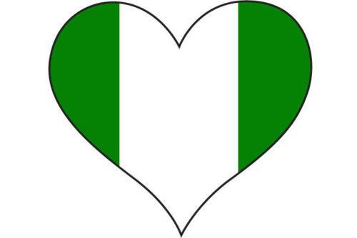 NIGERIAN FLAG STICKER car bumper  10 cm x 10 cm HEART FILLED WITH NIGERIA