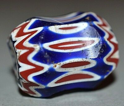 Rare Antique Venetian Six Layer Faceted Drawn Cane Chevron Dog Bone Bead, Africa