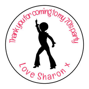 Disco-Woman-70-039-s-60-039-s-Personalised-Thank-You-Sticker-Party-Sweet-Cone-Birthday-2