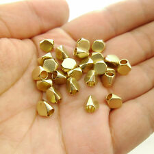 30pcs Large Hole 3mm Faceted Raw Brass Beads Spacers 7x6mm Leather Cord Initials
