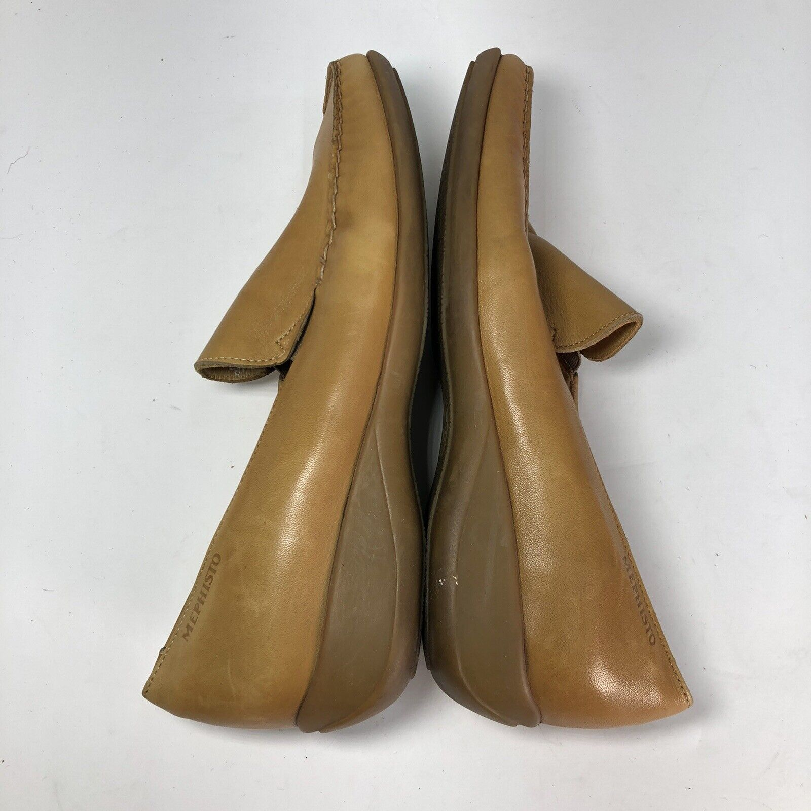 Mephisto Tan Leather Square Slip On Womens Flats … - image 4