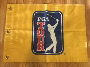 PGA-TOUR-LOGO-YELLOW-TOURNAMENT-PIN-FLAG-WITH-GROMMETS-FREE-SHIPPING-TIGER-WOODS