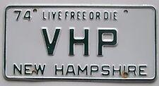 New Hampshire 1974 VANITY License Plate VHP