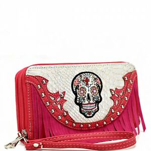 Sugar Skull Wristlet Wallet Pink Fringe Double Zipper & Wrist Strap New