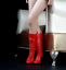 1//6 Scale Accessory Female Red Leather Boots Shoes Fit For The PH Female Doll