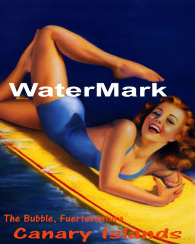 POSTER THE BUBBLE FUERTEVENTURA CANARY ISLANDS GIRL SURF VINTAGE REPRO FREE S//H