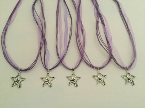 5 x Fairy In A Star Charm Necklaces Party Bag Filler Gift CHOOSE COLOUR
