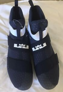 New! Nike LeBron Soldier 10 856489-442 Navy White Silver Size 18 ... 14c2caa28039