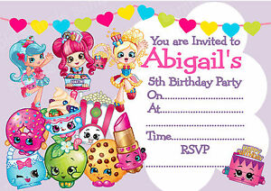 Personalised SHOPKINS GIRLS Birthday Party Invitations or THANK YOU