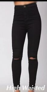 a041325652ea Womens Ladies Black Mom Jeans Denim Ripped Skinny High Waisted Jeans ...