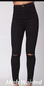 Womens Ladies Black Mom Jeans Denim Ripped Skinny High Waisted