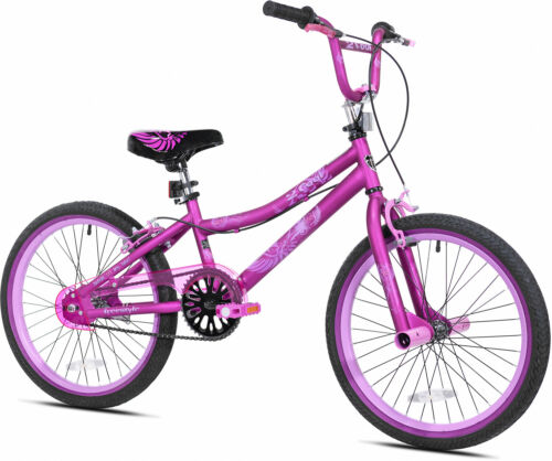 BMX Bike Purple 20 Inch Single Speed Steel Frame Kid Bicycle Fun Freestyle Girls