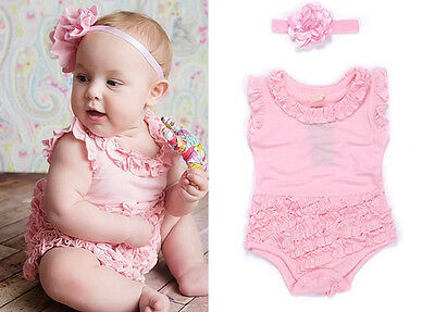 Newborn Baby Girl Romper Headband Clothing Set Toddler Kids Clothes Outfit 0-18M