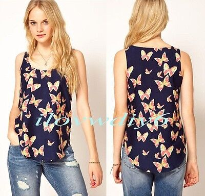 Women Butterfly Print Tank Tops Blouse Vest Chiffon Blouse T-Shirt Sleeveless