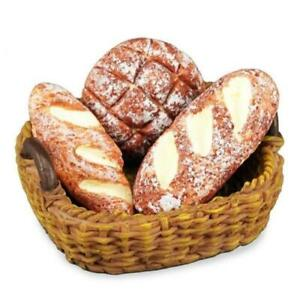 1:12 Miniature Bread in Basket Set Simulation Food Kitchen Bakery Dollhouse Toy