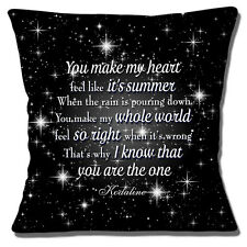 "Kodaline Lyrics Cushion Cover 16""x16"" 40cm 'The One' Love Song for Wedding Dance"