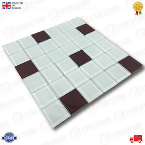 X Cm GLASS MOSAIC WALL TILES SHEET ICE BLUE WITH BROWN DETAILS - Carrelage e tiles
