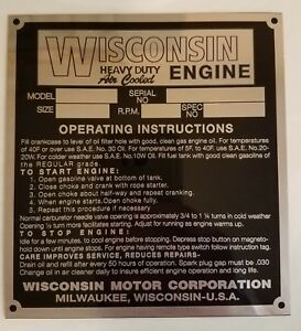 Wisconsin-Engine-ID-Plate-Brand-New-Antique-Vintage-Garden-Tractor-Tag-AENL
