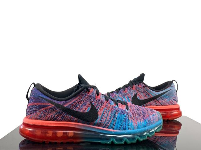 Nike Flyknit Air Max Blue Lagoon Crimson 620469 401 Size 11.5 Mens Pre Owned