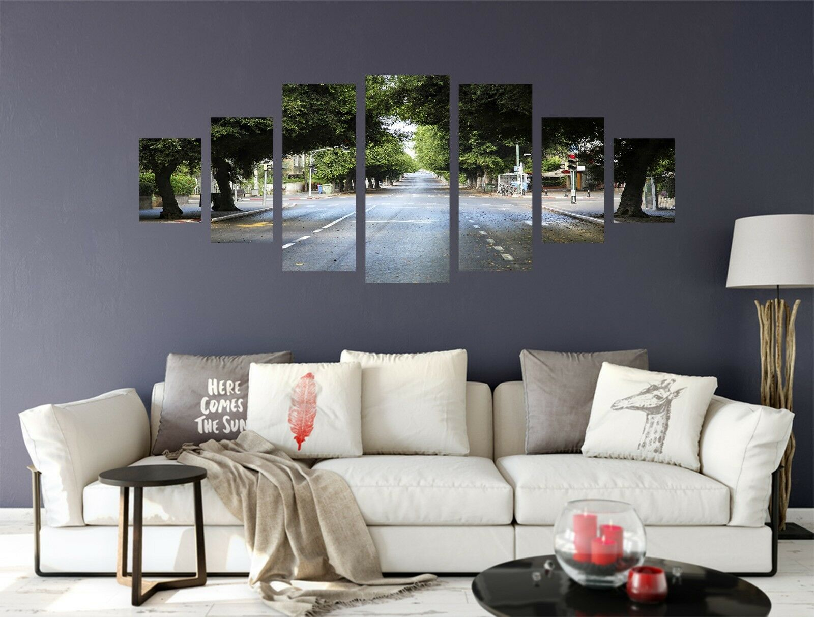 3D Motorway Trees 123 Unframed Print Wall Paper Deco Indoor AJ Summer