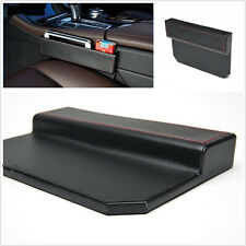 Black PU Leather Car Seat Side Console Slit Gap Filler Catcher Caddy Storage Box
