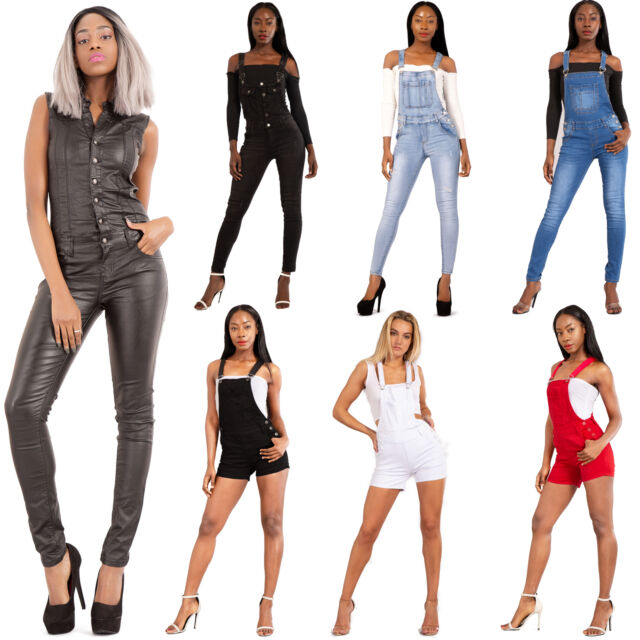 Women Dungarees Jeans Jumpsuit Denim Overall Pants full length Size 6 8 10 12 14
