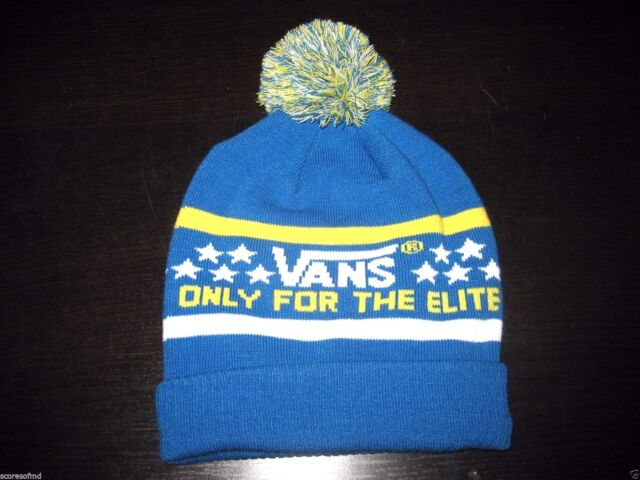 6ce803328af VANS off The Wall Elite Pom Cuff Beanie Royal Blue and Yellow Mens ...