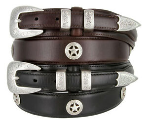 "Waco Texas Star - Concho Ranger Genuine Leather Jean Cowboy Belt, 1-3/8"" Wide"