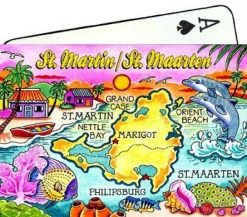 ST.MARTIN//ST.MAARTEN MAP CARIBBEAN COLLECTIBLE SOUVENIR PLAYING CARDS
