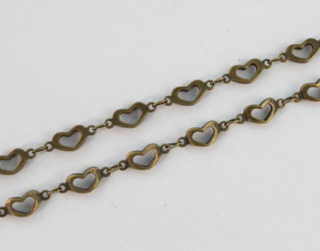 1 Meter of Antiqued bronze Open heart link handmade chain #22903