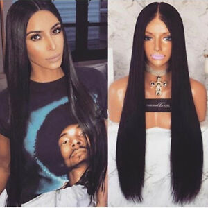 Image is loading Middle-Part-Straight-Hair-Wig-Long-Straight-Synthetic- 838ee7324c