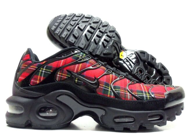 watch b0300 d4dd7 Nike Air Max Plus TN SE Tartan Running Shoes Size 7 Womens Black Red Av9955  001