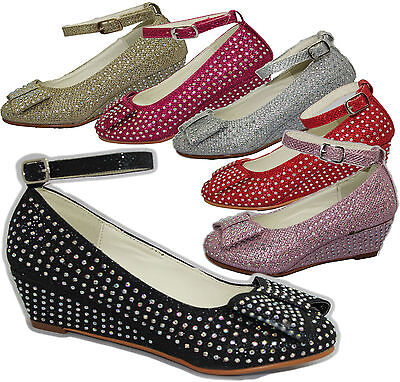 Chicas Diamante Dama Fiesta Boda Sandalias Bebés Fancy Dress Zapatos arco
