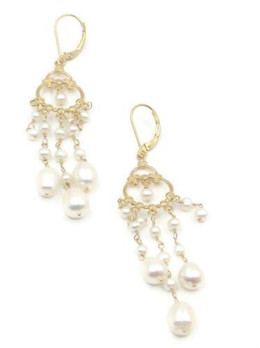 Pearl White Chandelier Earrings,14K Yellow Gold Leverbacks