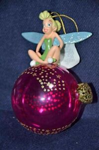 Tinkerbell On A Red Bulb Ornament Gold Glitter Stars Ebay