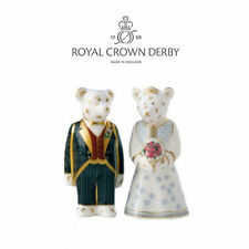 Royal Crown Derby Bride and Groom Mini Bears - NEW EXCELLENT