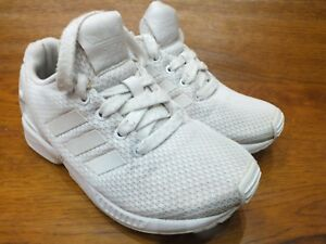 best loved 6c1c5 4abcc Details about Kids adidas Zx Flux All White Casual Trainers UK 11 Kids EU 29