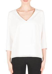 Joseph-Ribkoff-Off-White-Keyhole-Open-Back-3-4-Sleeve-Top-US-8-UK-10-NEW-183913