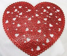 Valentines Vinyl Red Hearts Cut Out Placemats Decorations Set of 4 8 12