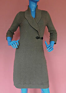 Calvin-Klein-Womens-Wavy-Ribbed-Knit-Sweater-Dress-M-8-10-12-Shawl-Neck-Bodycon