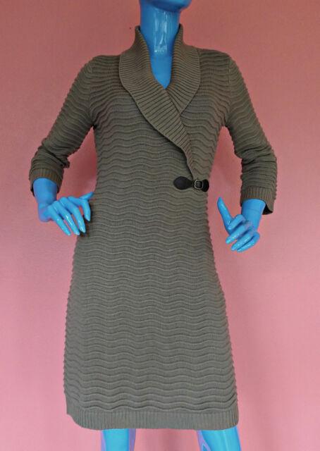 Calvin Klein Womens Wavy Ribbed Knit Sweater Dress M 8 10 12 Shawl Neck Bodycon