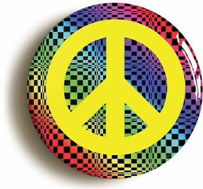 PSYCHEDELIC SIXTIES PEACE SYMBOL BADGE BUTTON PIN (Size is 1inch/25mm diameter)