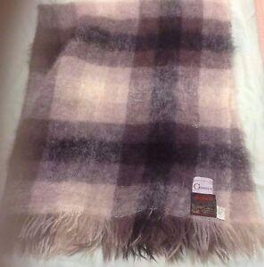 "Vintage GIMBELS Scotland 70% Mohair 30% Wool Throw Blanket SIZE=56"" x 69"""