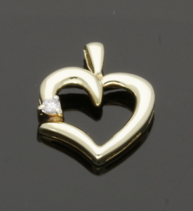 9-Ct-Oro-Amarillo-Diamante-Corazon-Colgante