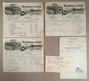 Philadelphia-PA-1913-14-WM-AYRES-amp-SONS-HORSE-BLANKETS-Pictorial-Billheads-Lot