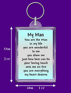 Man In My Life Verse Keyring Birthday Boyfriend I Love You
